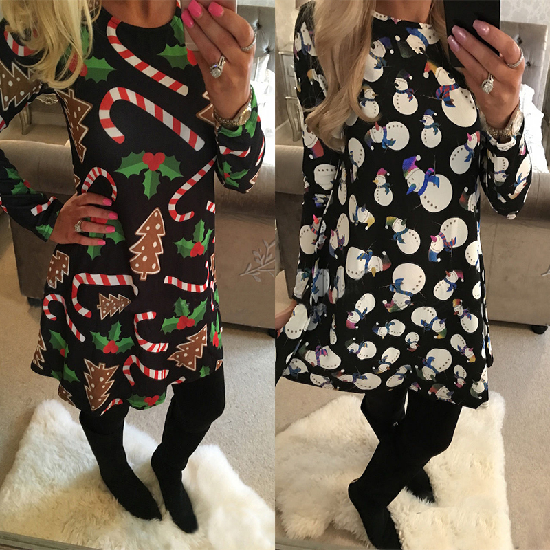 Winter Casual New Year Christmas Mini Dress Women Long Sleeve Floral Plus Size Dress Clothes Femme O-neck Ladies Dresses 3