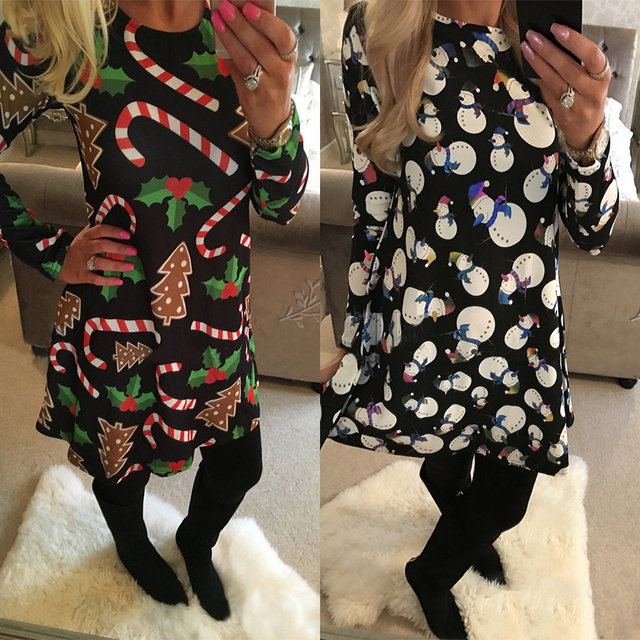 Winter Casual New Year Christmas Mini Dress Women Long Sleeve Floral 3