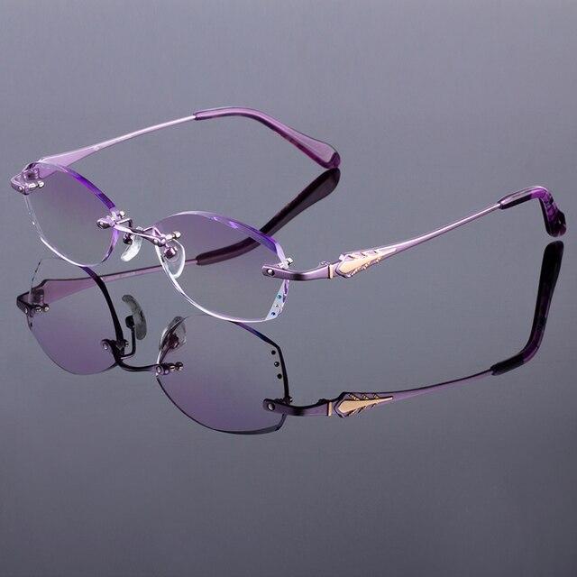 Glamorous Purple Women Rimless Frame Titanium Alloy Optical Frame Diamond Trimming Cut Rimless Glasses With Gradient Tint Lenses