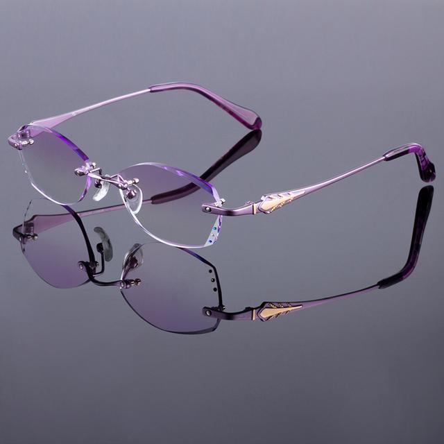 Glamorous roxo mulheres liga de armação sem aro titanium frame ótico óculos sem aro de diamante corte corte com lentes gradiente matiz