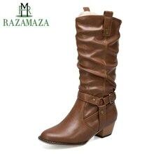 Купить с кэшбэком RAZAMAZA Plus Size 34-50 Vintage Women High Heels Boots Buckle Round Toe Mid Calf Boots Party Warm Shoes Women Sexy Footwear