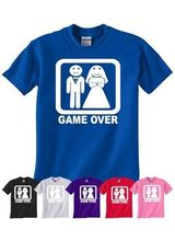 Game Over Funny Wedding Stag Hen Night Bride Mens LadiesT-Shirt More Size and Colors-A048