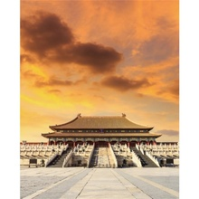 Laeacco Canvas Calligraphy Painting Beijing Forbidden City Sunrise Posters and Prints Wall Pictures Living Room Home Decoration