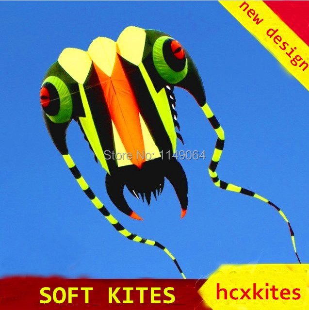 free shipping new design 7square meters trilobites soft kite with line ripstop nylon fabric kite weifang festival hcxkite hot цена 2017