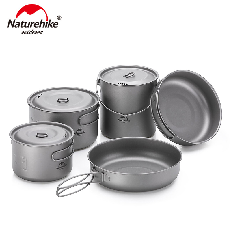 Naturehike Lightweight High Strength Titanium Cookware Outdoor Camping Pot Portable Frying Pan Self-cleaning Function NH18T101-A