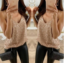 UK Women Sequin Sleeveless Tank Tops Vest Ladies Party Sparkly Blouse Shirt