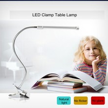 Lámpara de mesa LED Lámpara USB Clip Oficina Flexible lámpara ajustable para escritorio ojo-Protección de larga vida libro lámpara Led luz 2-nivel de brillo(China)