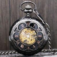Antique Magic Roman Half Hunter Black Steel Hollow Skeleton Hand Wind Mechanical Pocket Watch Long Chain