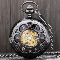 Antique Magic Roman Half Hunter Black Steel Hollow Skeleton Hand Wind Mechanical Pocket Watch Long Chain