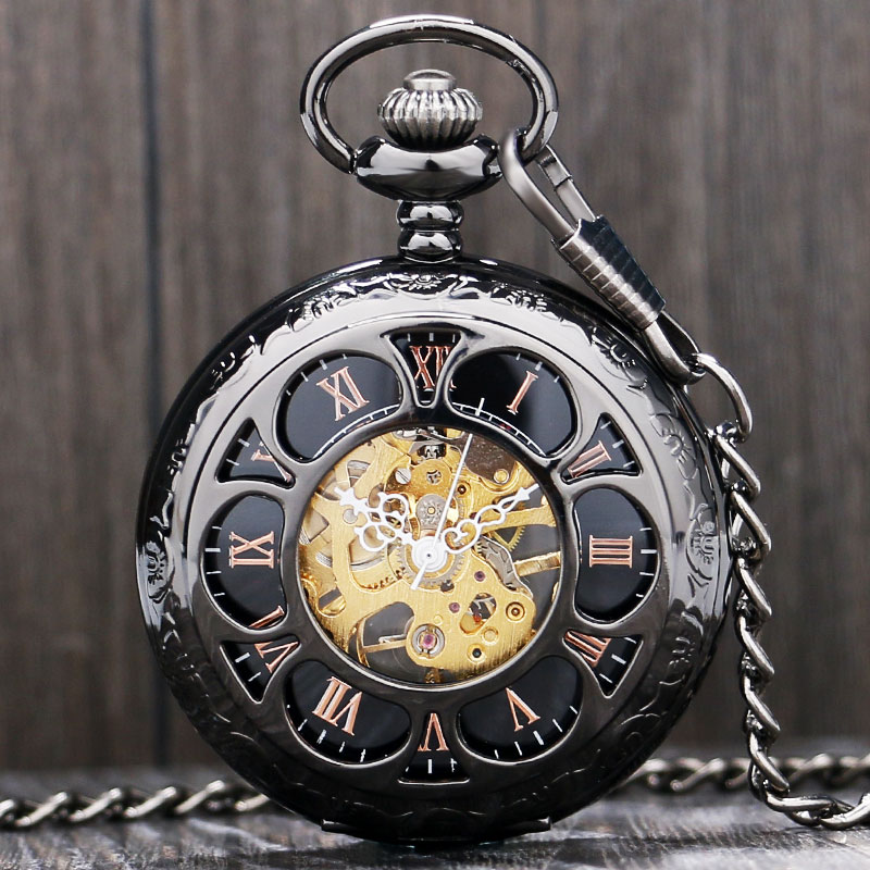 Antique Magic Roman Half Hunter Black Steel Hollow Skeleton Hand Wind Mechanical Pocket Watch Long Chain Value Quality