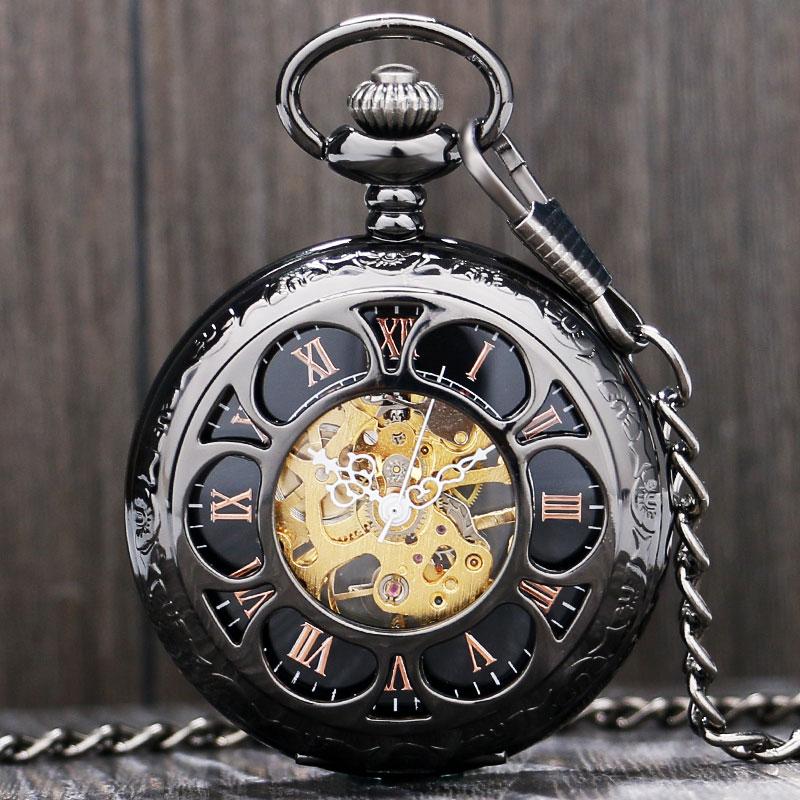 Antique Magic Roman Half Hunter Black Steel Hollow Skeleton Hand Wind Mechanical Pocket Watch Long Chain Value Quality
