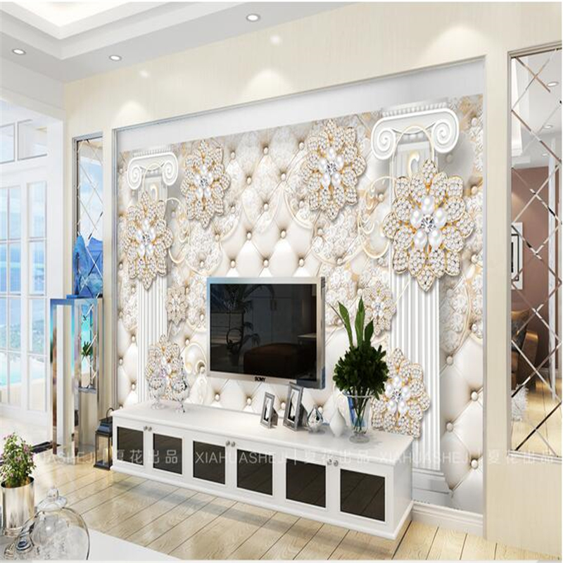 Beibehang Package Roman Column Diamond Jewelry-woven Paper Papel De Parede 3d TV Contracted Large Mural Wall Papers Home Decor