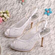 สีขาวสง่างามลูกไม้ผ้ารองเท้าเจ้าสาวส้นสูงDropshipping
