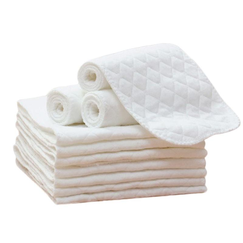10 pcs 3 Layers  Microfiber Baby Nappies Reusable Infant Newborn Cloth Diaper Nappy Liners Insert Fraldas for Care