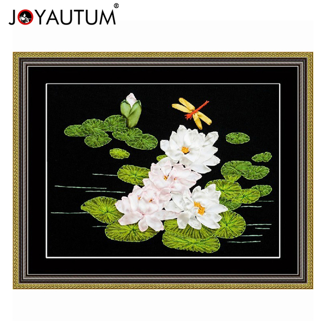 Lotus Flowers Needleworkdiy Ribbon Cross Stitch Sets For Embroidery