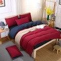 4pcs Luxury Solid Color Bed Linens Set Red Microfiber Bed Set Bedclothes Comforter Duvet Cover Sets Outlet Bedding Set King