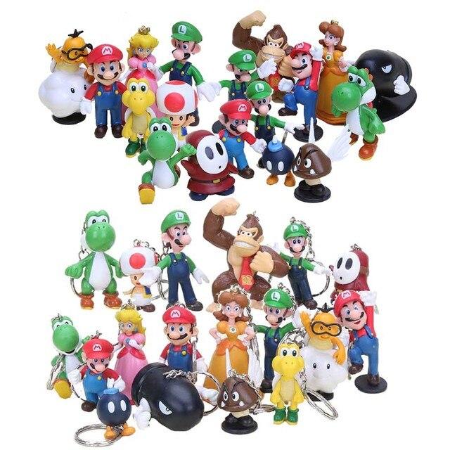 a25722142833e 18 Pçs set Figuras Super Mario Bros Com Chaveiro Luigi Peach Yoshi Toad  Mario PVC