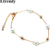 Simulated Pearl Rose Gold-color Charm Bracelet For Women Fine Jewelry Wholesale Cute Gift 2017
