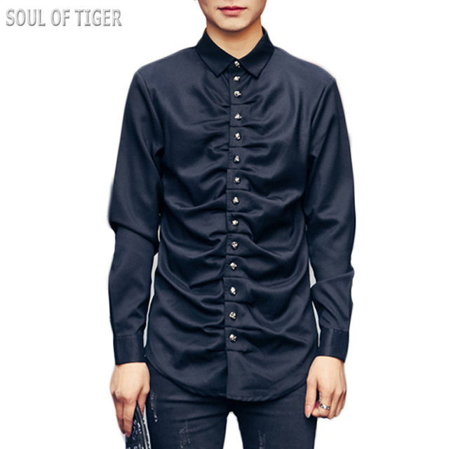 Luxury Brand Clothing 2017 Клуб Дизайнер Мужские Рубашки Платья Slim Fit Camisas Сорочку Homme Masculino Человек Черные Рубашки Симмс Дворец