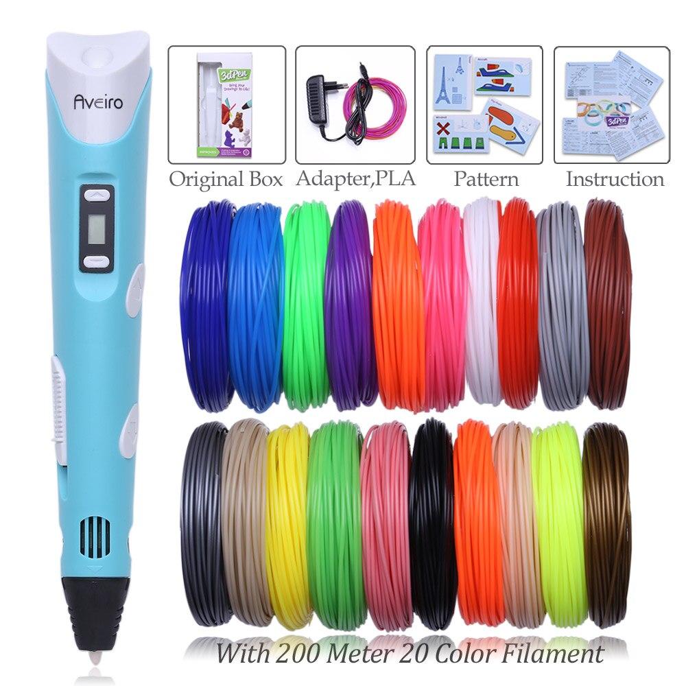 Magic 3D Printer Pen smart Drawing 3D Pen 3 Colours PLA filament Diy Led Display