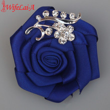 WifeLai-A 1pcs/lot Groom bride corsage rose wedding corsage Crystal Wedding Boutonnieres Flower Groom Groomsman Brooches XH0038