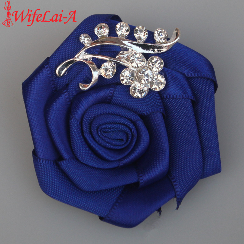 WifeLai-A 1pcs / lot Brudgom brud corsage rose bryllup corsage Crystal Wedding Boutonnieres Flower Groom Groomsman Brocher XH0038