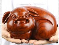 odiac pig creative office furniture rosewood crafts Yellow flower pear wood carving decoration statue factory direct