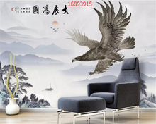 beibehang Custom size new Chinese style exhibition Hongtu eagle spread wings landscape marble wallpaper decoration painting w