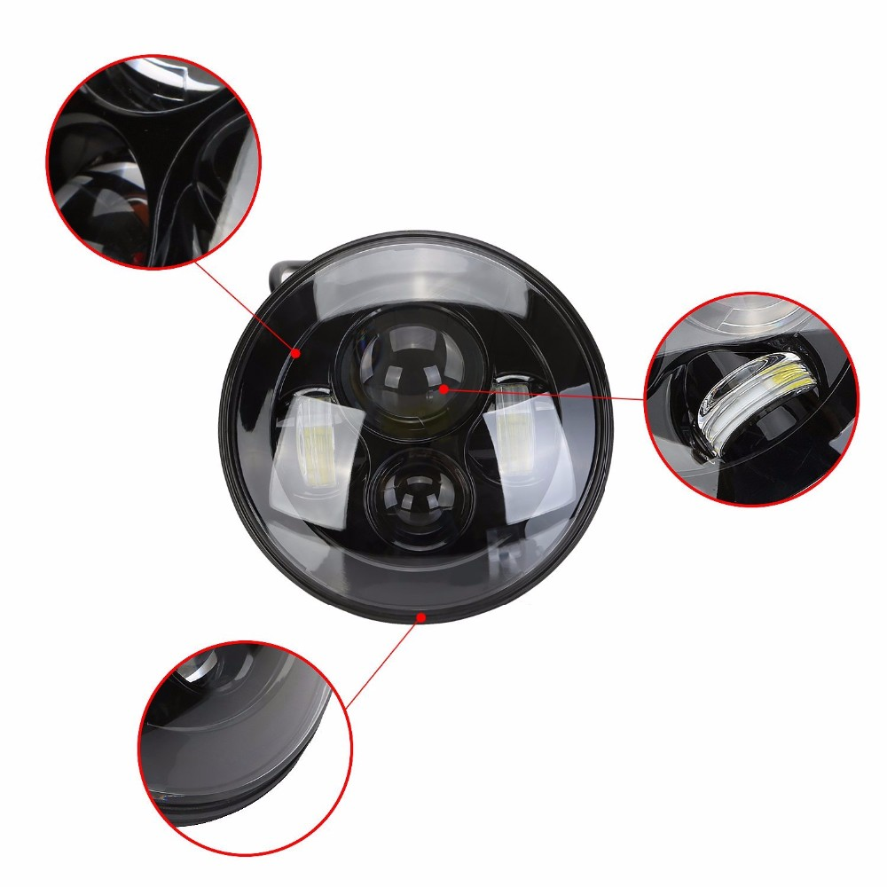 """7"""" Round LED Headlight For Jeep Wrangler 97 15 Hummer Toyota Defender 7 inch LED Projector Driving Lamp for Lada Niva JK CJ LJ-in Car Light Assembly from Automobiles & Motorcycles    3"""