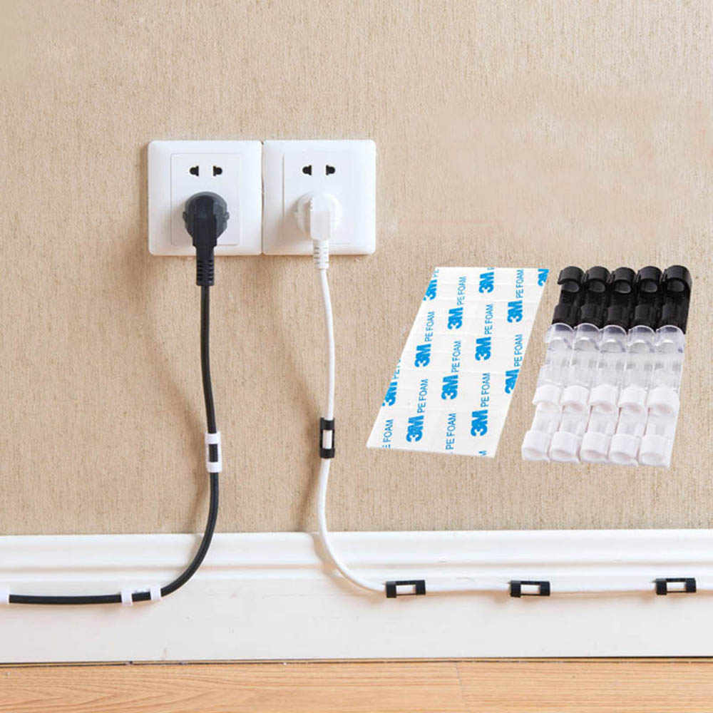 Hot Sale Practical 37 Pc Adhesive Wire Cable Management Clips