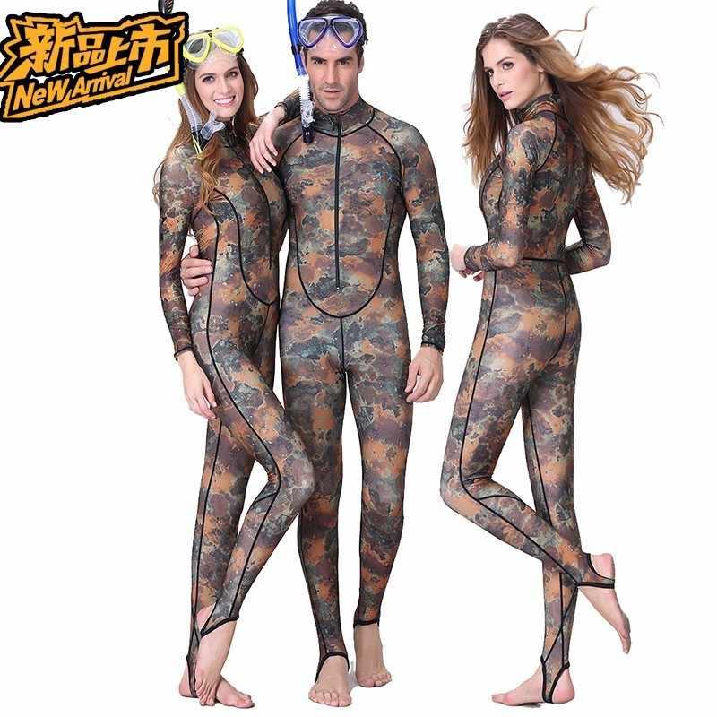 0.5MM Camouflage Snorkeling Dive Skin Rash Guards One-piece With Hood Men Women CAMO Wetsuit Lovers swimwear