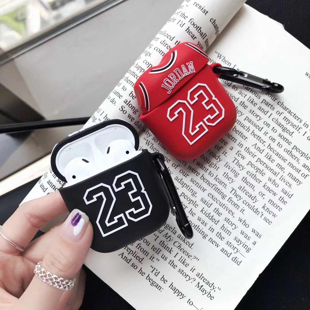 Basketball  23  Jordan Soft Silicone Earphone Case for Apple AirPods 2 Protection Wireless Bluetooth Headset Cover For Air pods