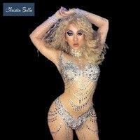 Пикантные серебряные бикини узор со стразами комбинезон сексуальный слитный купальник для вечеринок телесного цвета боди с блёстками Для