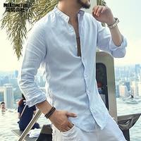 2017 New Spring Summer Cotton Linen Shirt Men Casual Long Sleeve Men Shirt Mandarin Collar Camisa
