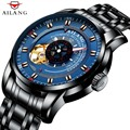 AILANG heren Mechanische Blue Dial Automatische Beweging Rvs Mode Gear Bezel Ontwerp Tourbillon Horloges Mannen