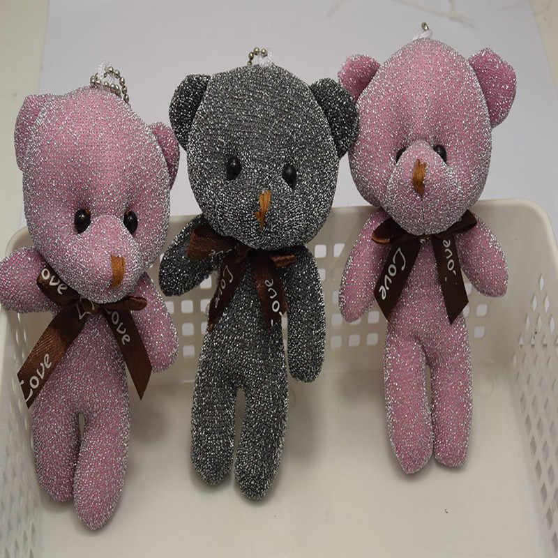 5pcs Plush Fur Pompom Mulheres Urso de Brinquedo de Pelúcia Boneca Chaveiro Trinket Chaveiro Cadeia Chave Do Carro do Saco Das Mulheres da Festa de Casamento presente do valentim