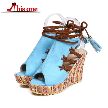 2018 New Handcrafted Style Wedges Sandals Casual Peep Toe Bohemia Gladiator Shoes Woman Cut Outs Lace Up Platform Shoes Sandals