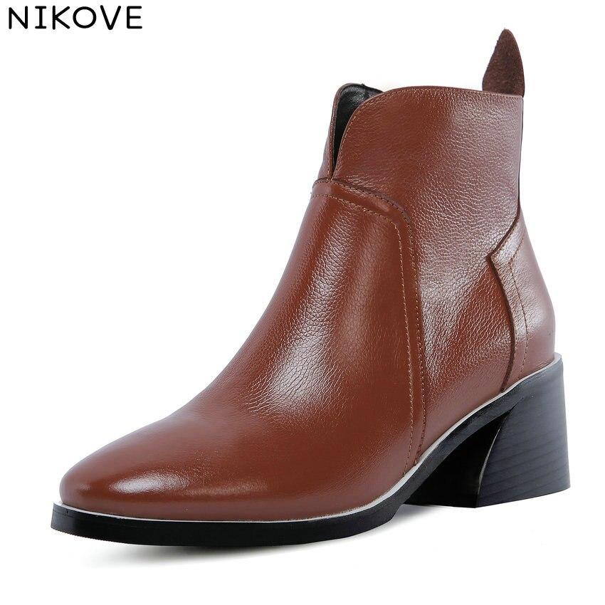 2fc0a7be7 Cuadrado Tacón Zapatos Mujer 43 Tobillo Redonda 34 Vaca Mujeres Pu 2019  Negro Botas marrón Alto De Nikove Cuero Moda ...
