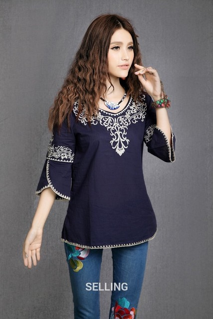 Vintage 70s Mexican Ethnic Floral Embroidery HOBO T Shirt Women Clothing T-shirt  Women Tops Blusas Femininas 2019 T Shirts 5e8339349427