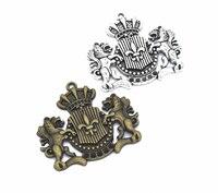 20 pièces pendentif à breloques mode belle couronne de Lion Vintage argent argent bronze fabrication de bijoux boucle d'oreille bracelet collier porte-clés bricolage
