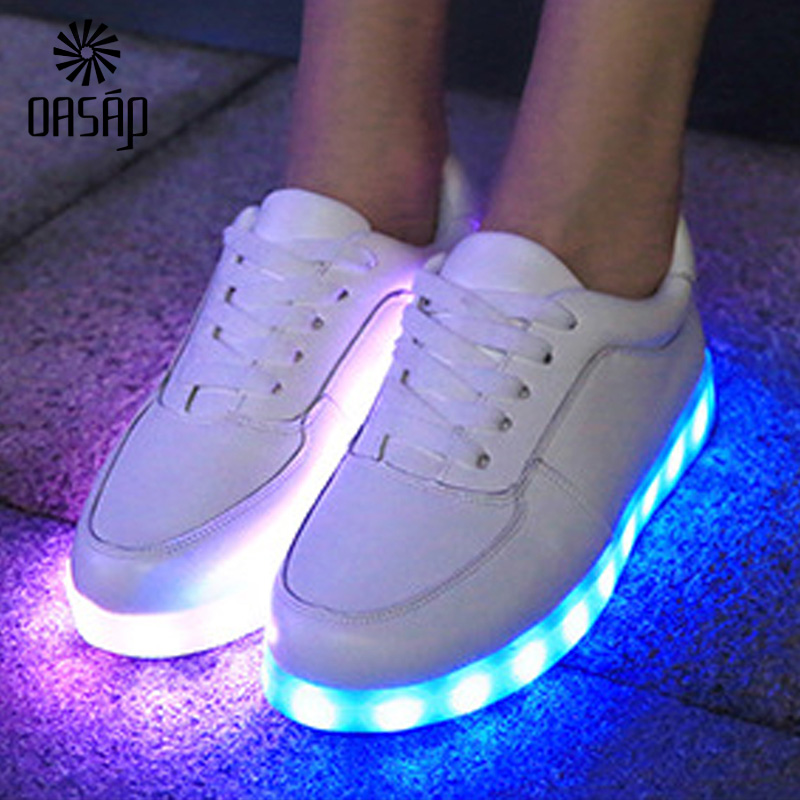 OASAP sneakers women Glowing Shoes White/Black Light Up Shoes LED Luminous  Shoes Sole LED Shoes for Adults Neon Basket LED 93785-in Men's Casual Shoes  from ...