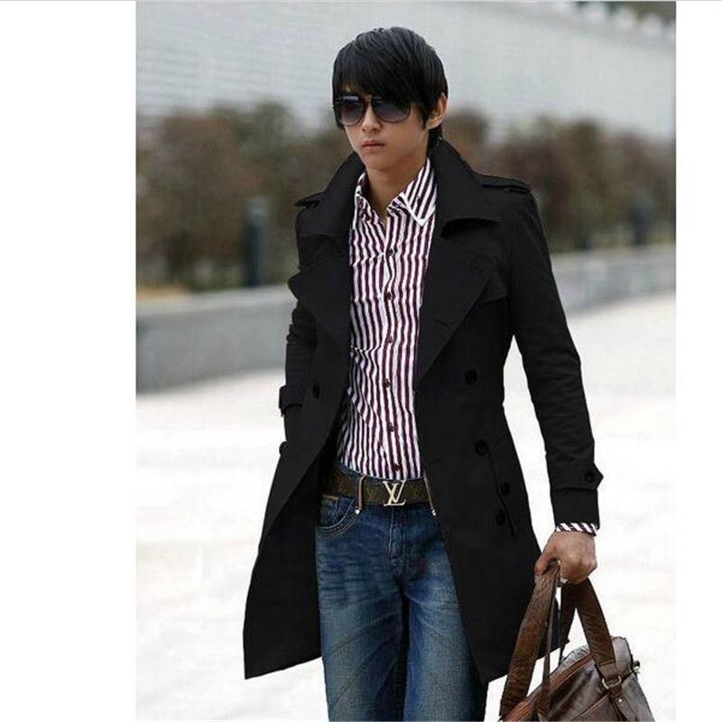 New Men's Stylish Double Breasted Long Trench Coat Men Overcoat Winter Long Jacket For Men Plus Size M~XXXL Free Shipping