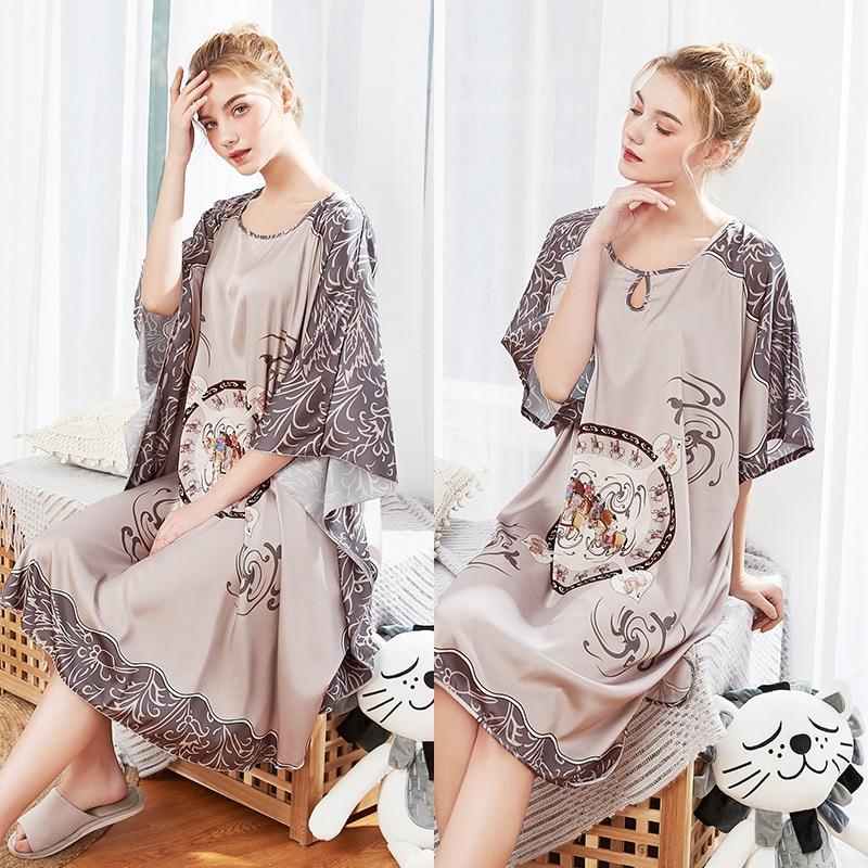 Women Long Sexy Silk Nightwear Satin Half Sleeve Knee Length Sleepwear Print Sleepshirts Grey Nightdress Night Wear Dress Gown