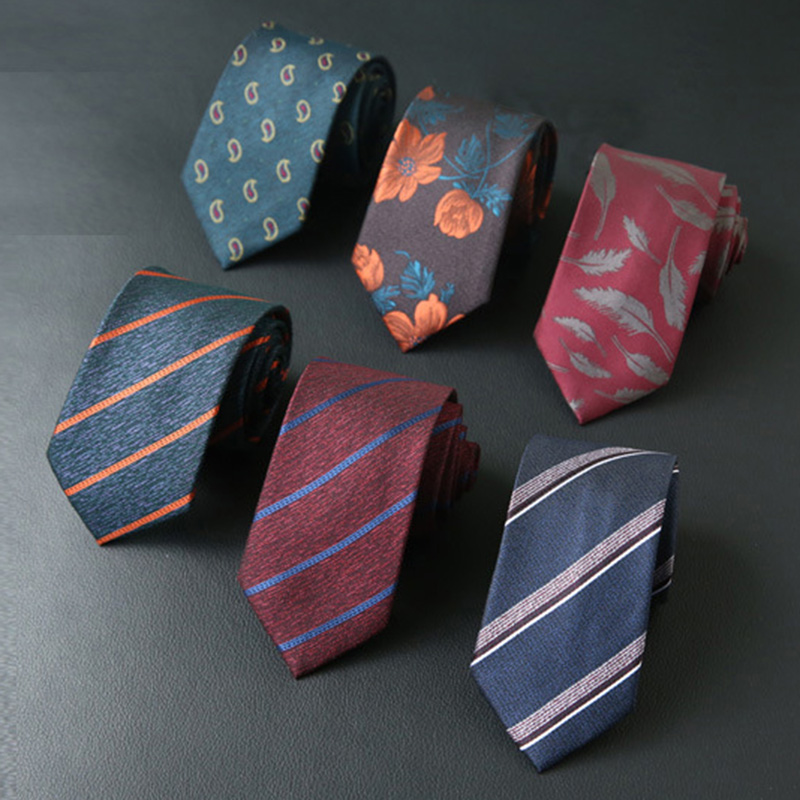 RBOCOTT Striped Paisley Feather Floral Slim Neck Ties For Men Fashion Neckties 7cm Business Neckwear Mens Wedding Tie Skinny