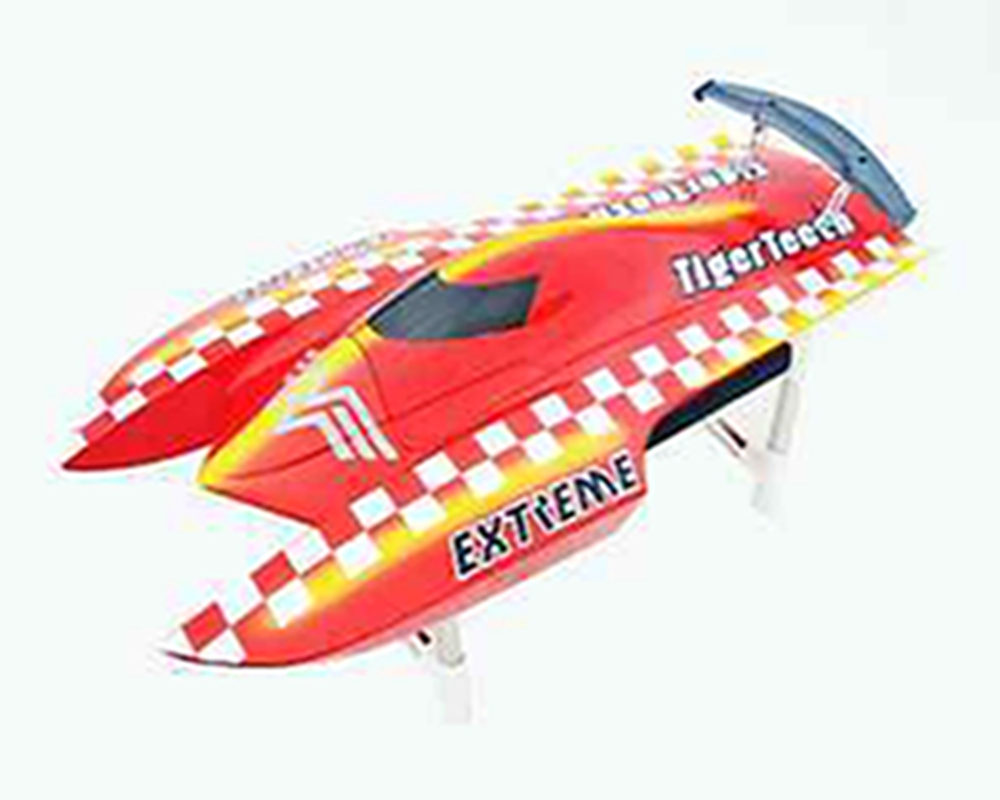 E22 KIT Tiger Teeth Catamaran Prepainted Electric RC Racing Boat Hull only for Advanced Player Red TH02620