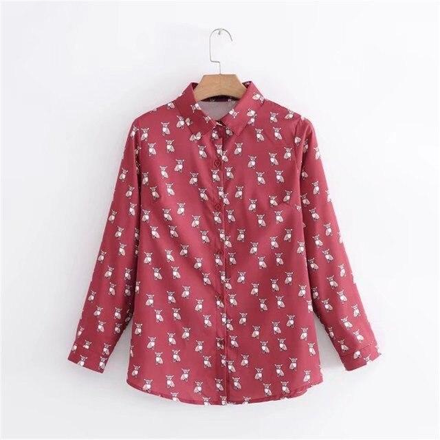 75ef3756e cartoon dog print shirt women tops cute blouse women blouses 2018 spring  new long sleeve shirts girl top blusas chemise femme