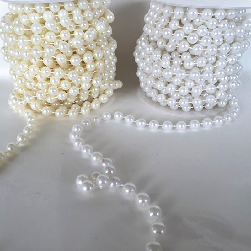 Holiday Supplies 45meters Lot 4mm Gold Silver Color String Of Beads Pearl Garland