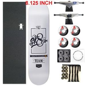Image 1 - SKATER 1 Set Pro Qualität Komplette Skateboard Deck 8,125 zoll Skate Bord Räder & Lkw Doppel Rocker Skateboard Teile