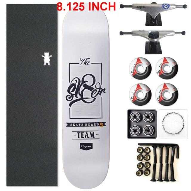 SKATER 1 Set Pro Qualität Komplette Skateboard Deck 8,125 zoll Skate Bord Räder & Lkw Doppel Rocker Skateboard Teile