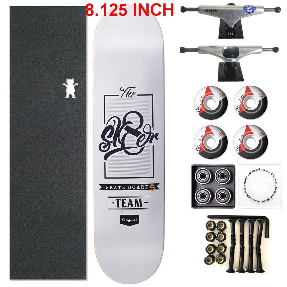 SKATER 1 Set Pro Quality Complete Skateboard Deck 8.125 Inch Skate Board Wheels & Trucks Double Rocker Skateboard Parts